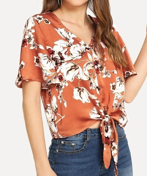 Picture of Flounce Sleeve Knot Floral Blouse