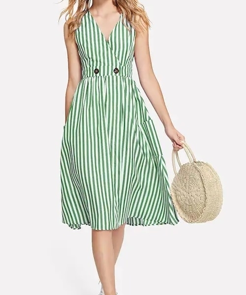 Picture of Button Dual Pocket Striped Dress