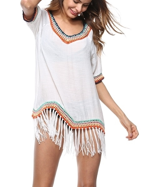 Picture of Crotchet Tassel Trim Beach Cover up