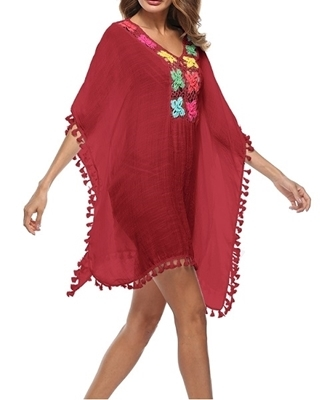 Picture of Crochet Pom Pom Hem Beach Cover Up
