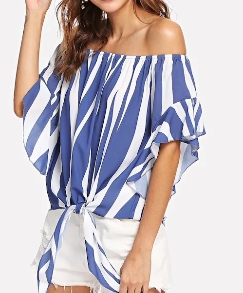Picture of Knotted Hem Striped Blouse
