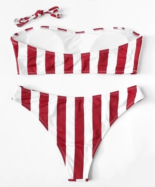 Picture of Red Striped Cheeky Bikini Set (strap removable)