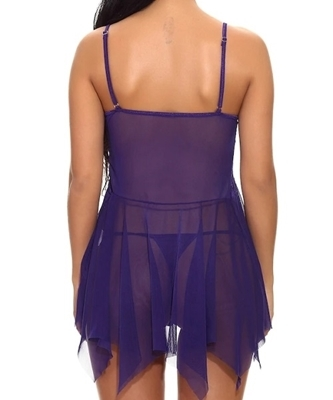 Picture of Asymmetrical Split Contrast Lace Babydoll With Thong