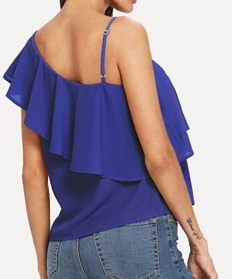 Picture of Asymmetrical Neck Flounce Trim Top