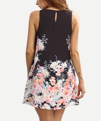 Picture of Floral Print Keyhole Back Swing Tank Dress