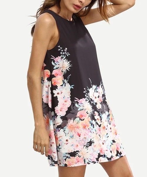 c341a55112 ... Picture of Floral Print Keyhole Back Swing Tank Dress ...