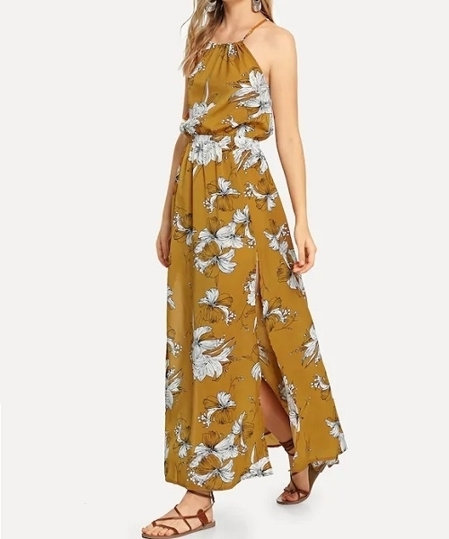 Picture of Floral Halterneck Maxi Long Dress