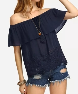 Picture of Crochet Scallop Trim Flounce Bardot Top