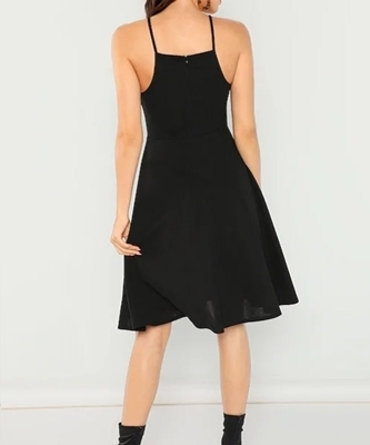 Picture of Fit & Flare Solid Halter Dress