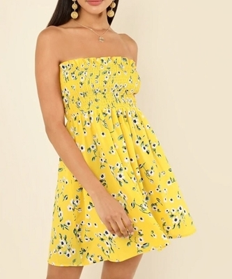 Picture of Flower Print Frilled Smock Dress