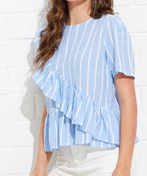 Picture of Ruffle Striped  Front Top