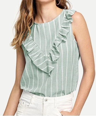 Picture of Ruffle Detail Striped Top