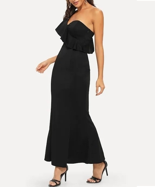 Picture of One Shoulder Ruffle Dip Hem Dress