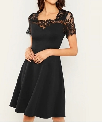 Picture of Eyelash Lace Yoke Fit & Flare Dress