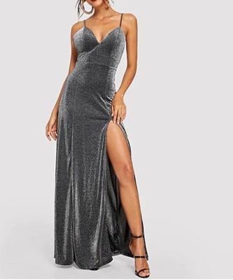 116412c9e4 ... Picture of Bodice Slit Glitter Cami Evening Dress