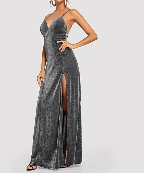 Picture of Bodice Slit Glitter Cami Evening Dress