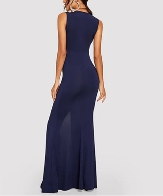 Picture of Ruched Front V-Neck Solid Occasion Dress
