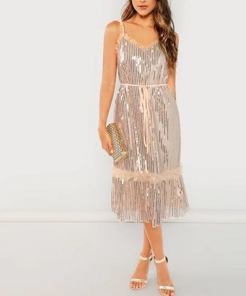 Picture of Frill Trim Ruffle Hem Glitter Cami Occasion Dress