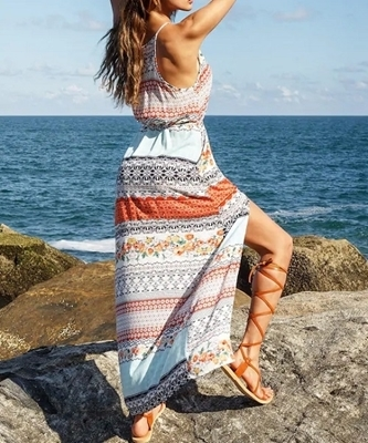 Picture of Printed Slip Dress With Drawstring Waist