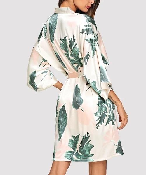 Picture of Tropical Print Self Tie Robe