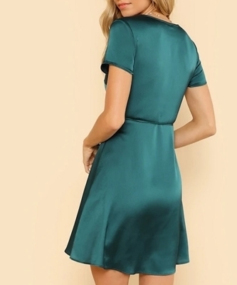 Picture of Fit & Flare Surplice Wrap Occasion Cocktail Dress