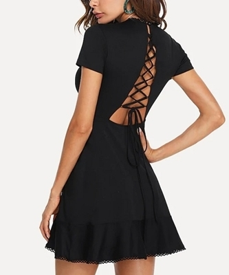 Picture of Lace Up Back Ruffle Hem Cocktail Dress