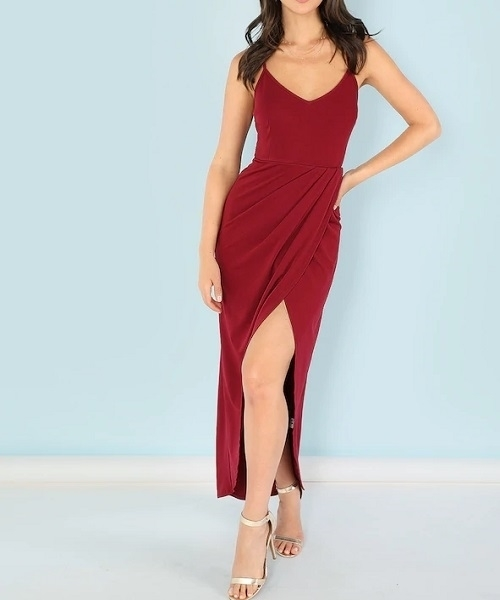 Picture of Overlap Split Front Cami Occasion Dress