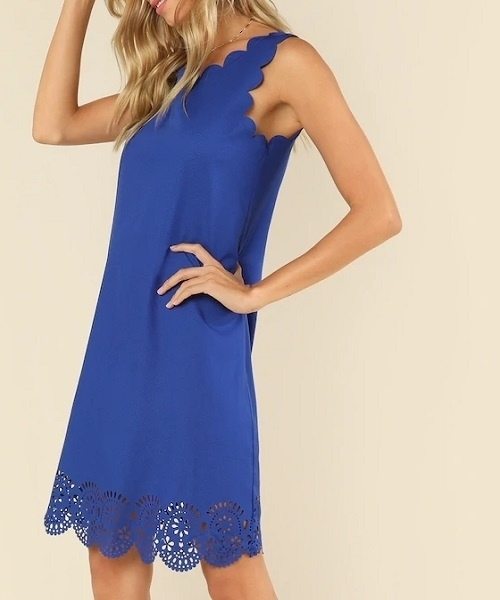 Picture of Laser Cut Insert Scalloped Edge Dress