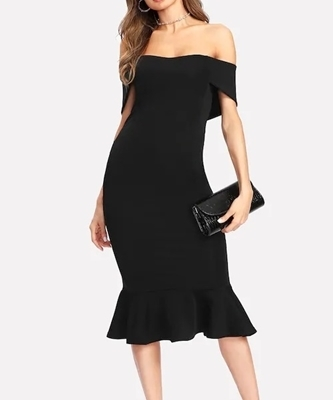 Picture of Flounce Hem Foldover Off Shoulder Dress