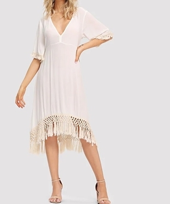 Picture of Asymmetrical Tassel Hem V Neck Solid Dress