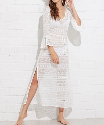Picture of Flounce Sleeve V Neck Beach Dress
