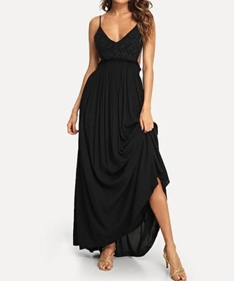 Picture of Lace Overlay Backless Maxi Occasion Dress