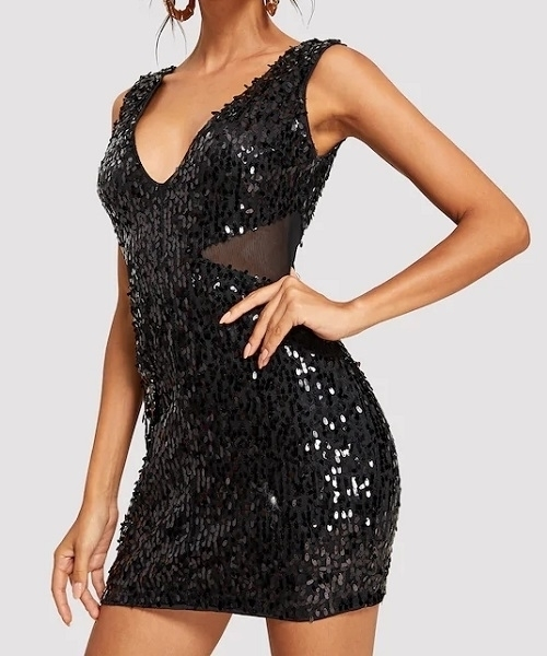 Picture of Corset V-Neck Shell Sequin Party Dress