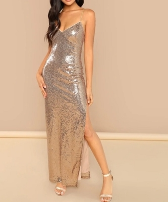 Picture of Split Side Sequin Cami  Evening Dress