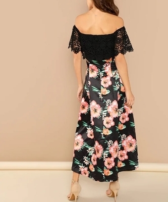 Picture of Off Shoulder High Waist floral fit and flare Occasion dress