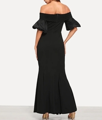 Picture of Cross Wrap Bardot Neck Fishtail Evening Dress
