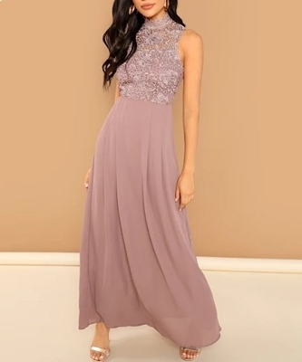 Picture of Lace Overlay Bodice Occasion Dress