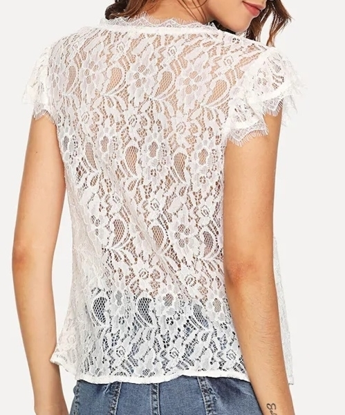 Picture of Solid Sheer Eyelash Lace Top