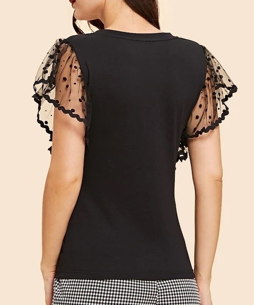 Picture of Dot Mesh Sleeve V Neck Tee