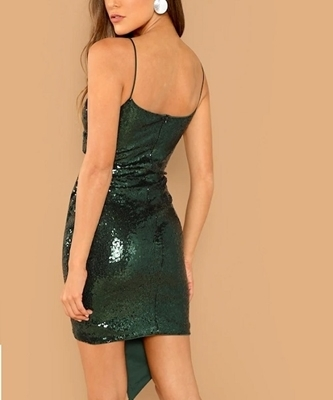 Picture of Surplice Wrap Sequin Cami Cocktail Dress - Green