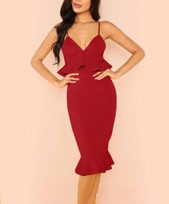 Picture of Spaghetti Strap Ruffle Occasion Dress