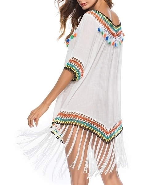 Picture of Beach Crochet Fringe Detail Colourful Dress
