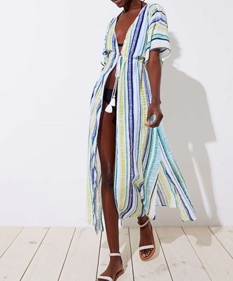 Picture of Striped Tassel Beach Kaftan