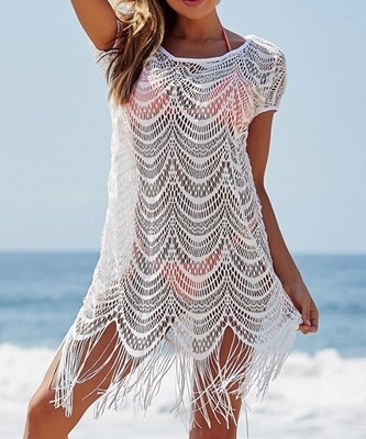 Picture of Fringe Detail Beach Dress