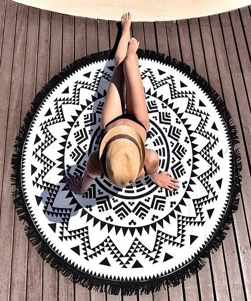 Picture of Aztec Print Tassel Rim Beach Blanket