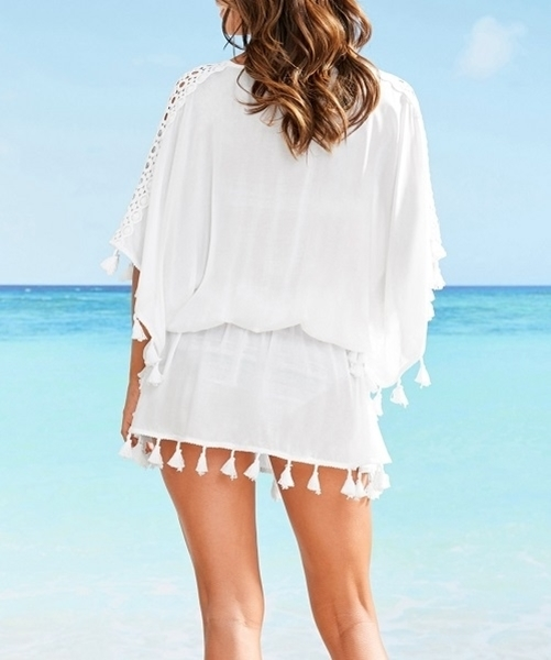 Picture of Crotchet Shoulder Detail Tassel Short Kaftan