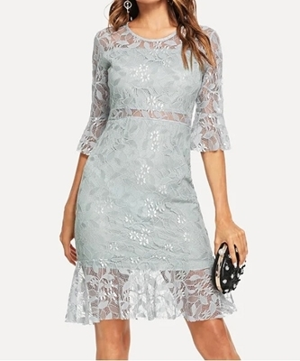 Picture of Lace Fluted Sleeve Dress