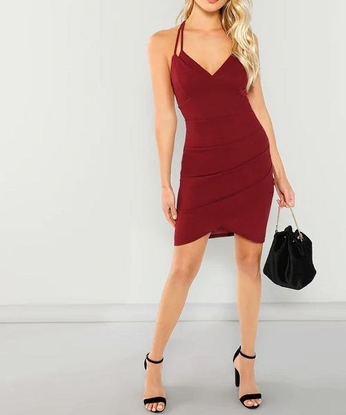 Picture of Double Strap Ruched Overlap Cocktail Dress