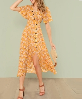 Picture of Button Front Slit Hem Dress