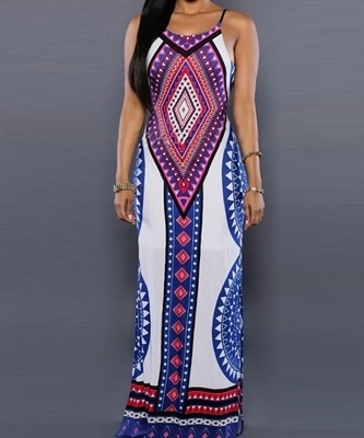 Picture of Aztec print strappy Long dress - White